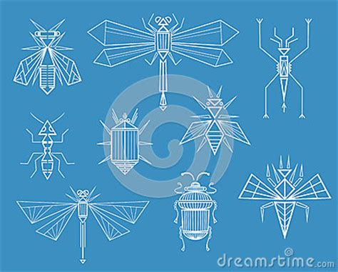 Geometric Insects Stock Vector - Image: 40493378